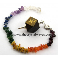 Tiger Eye Agate Ankh Engraved Hexagonal Pendulum With Chakra Chips Chain
