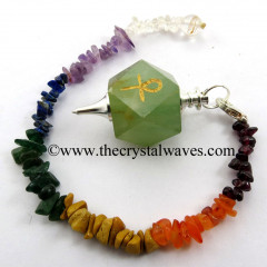 Green Aventurine Ankh Engraved Hexagonal Pendulum With Chakra Chips Chain