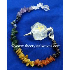Crystal Quartz Ankh Engraved Hexagonal Pendulum With Chakra Chips Chain