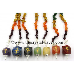Ankh Engraved Hexagonal Pendulum Chakra Set With Chakra Chips Chain