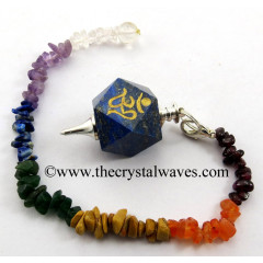 Lapis Lazuli Om Engraved Hexagonal Pendulum With Chakra Chips Chain