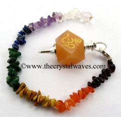 Peach Moonstone Om Engraved Hexagonal Pendulum With Chakra Chips Chain