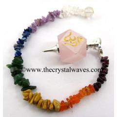 Rose Quartz Om Engraved Hexagonal Pendulum With Chakra Chips Chain