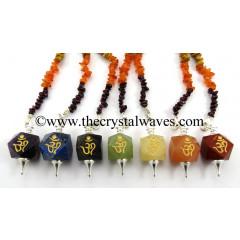 Om Engraved Hexagonal Pendulum Chakra Set With Chakra Chips Chain