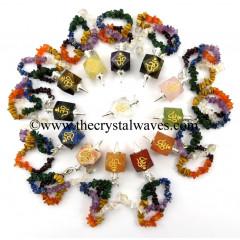 Mix Gemstones Om Engraved Hexagonal Pendulum With Chakra Chips Chain
