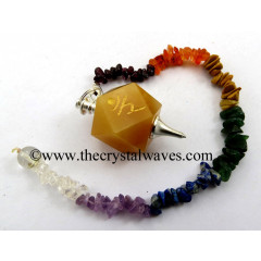 Yellow Aventurine Ram Engraved Hexagonal Pendulum With Chakra Chips Chain