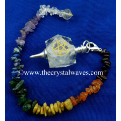Crystal Quartz Pentacle Engraved Hexagonal Pendulum With Chakra Chips Chain