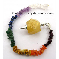 Yellow Aventurine Pentacle Engraved Hexagonal Pendulum With Chakra Chips Chain