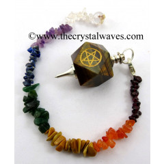 Tiger Eye Agate Pentacle Engraved Hexagonal Pendulum With Chakra Chips Chain