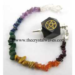 Blue / Black Tiger Eye Agate Pentacle Engraved Hexagonal Pendulum With Chakra Chips Chain