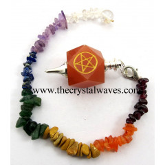 Red Aventurine Pentacle Engraved Hexagonal Pendulum With Chakra Chips Chain