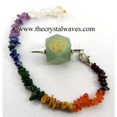 Green Aventurine Pentacle Engraved Hexagonal Pendulum With Chakra Chips Chain