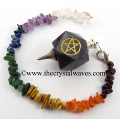 Amethyst Pentacle Engraved Hexagonal Pendulum With Chakra Chips Chain