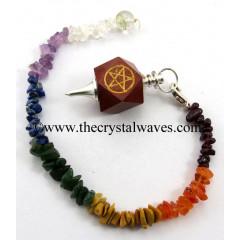 Red Jasper Pentacle Engraved Hexagonal Pendulum With Chakra Chips Chain