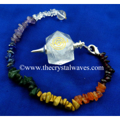 Crystal Quartz Cho Ku Rei Engraved Hexagonal Pendulum With Chakra Chips Chain