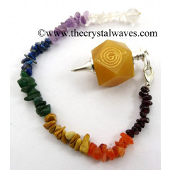 Yellow Aventurine Cho Ku Rei Engraved Hexagonal Pendulum With Chakra Chips Chain