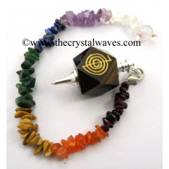Tiger Eye Agate Cho Ku Rei Engraved Hexagonal Pendulum With Chakra Chips Chain