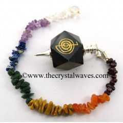 Blue / Black Tiger Eye Agate Cho Ku Rei Engraved Hexagonal Pendulum With Chakra Chips Chain