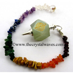 Green Aventurine Cho Ku Rei Engraved Hexagonal Pendulum With Chakra Chips Chain