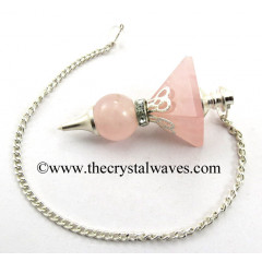 Rose Quartz 2 Pc Pyramid Ball Pendulum