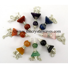 Mix Assorted Gemstones 2 Pc Pyramid Ball Pendulum