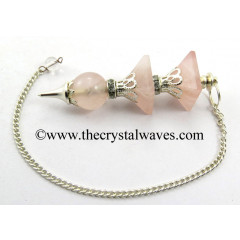 Rose Quartz 3 Pc Pyramid Ball Pendulum