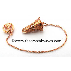 Om Engraved Copper Finish Cage Pendulum