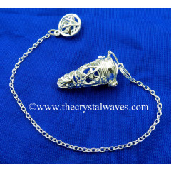 Om Engraved Silver Finish Cage Pendulum