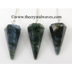 Moss Agate Faceted Pendulumn