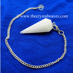 Snow Quartz Faceted Pendulum