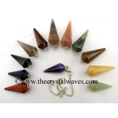Mix Assorted Gemstone 12 Facets Pendulum