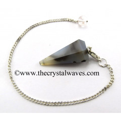Grey Khayaldar Agate Facted Pendulum