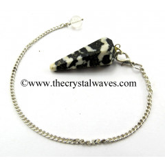 Black & White Tourmaline Facted Pendulum