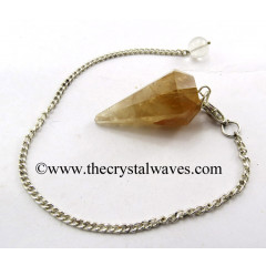 Citirine Quartz Facted Pendulum