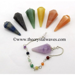 Faceted Pendulum With Chakra Chain Chakra Set