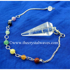 Crystal Quartz Good Quality Faceted Pendulum With Chakra Chain
