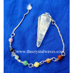 Crystal Quartz B Grade Faceted Pendulum With Chakra Chain