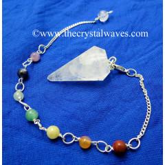 Crystal Quartz C Garde Faceted Pendulum With Chakra Chain