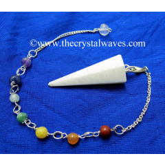 Scolecite Faceted Pendulum With Chakra Chain