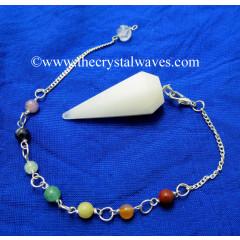 Snow Quartz Faceted Pendulum With Chakra Chain