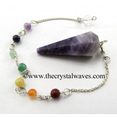 Chevron Amethyst Faceted Pendulum With Chakra Chain