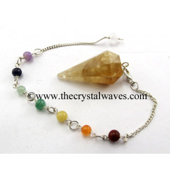 Citrine Faceted Pendulum With Chakra Chain