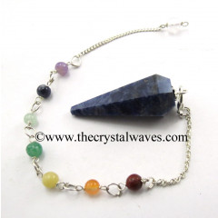 Sodalite Faceted Pendulum With Chakra Chain