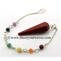 Red Jasper Faceted Pendulum With Chakra Chain