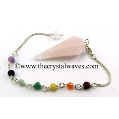 Rose Quartz Light Color Faceted Pendulum With Chakra Chain