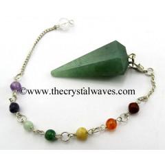 Green Aventurine (Dark) Faceted Pendulum With Chakra Chain