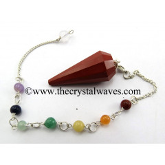Red Jasper 12 Facet Pendulum With Chakra Chain