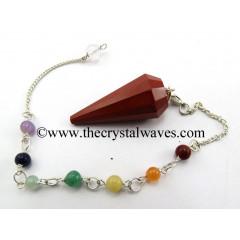 Red Jasper 12 Facet Pendulum With Chakra Chain