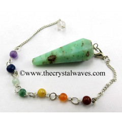 Chrysoprase Faceted Pendulum With Chakra Chain