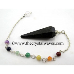 Nuummite / Coppernite Faceted Pendulum With Chakra Chain